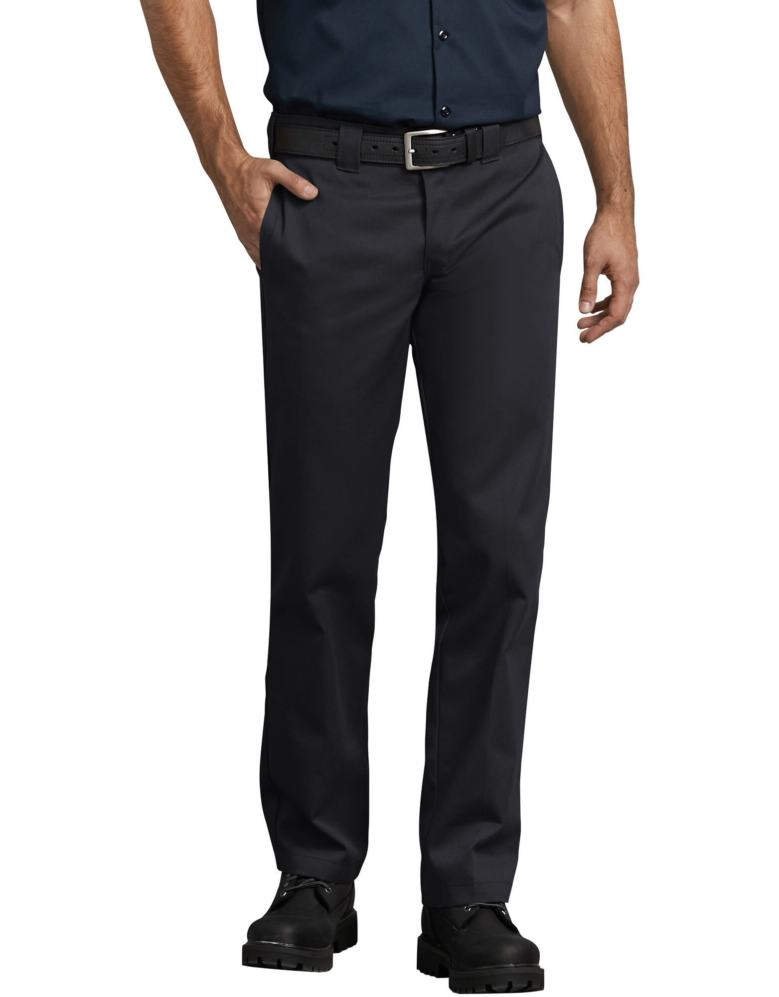 Pants - Typically slim fit pants will always have a flat-front design, are snug through the legs and taper slightly towards the bottom, ending in a small leg opening. The pants should be snug, about ½ inch of fabric when pinched between your fingers, but you should be able to move and sit with ease.