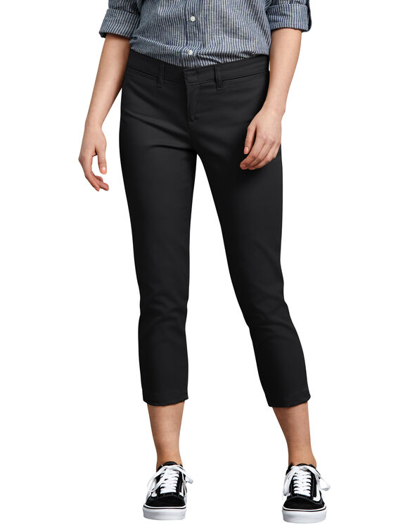 Women's Relaxed Fit Stretch Twill Capri - BLACK (BK)