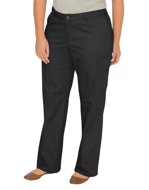 Women's Relaxed Fit Straight Leg Cargo Pant (Plus) - BLACK (BK)