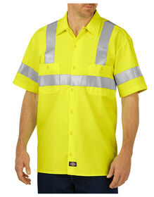 High Visibility ANSI Class 2 Short Sleeve Work Shirt - ANSI YELLOW (AY)