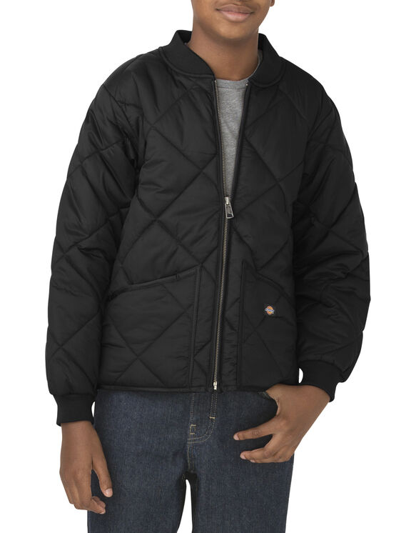 Boys' Quilted Nylon Jacket, 8-20 - BLACK (BK)