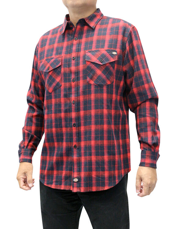 Men's Flannel Long Sleeve Woven Shirt with Dickies Applique - BLACK/ENGLISH RED (BKER)