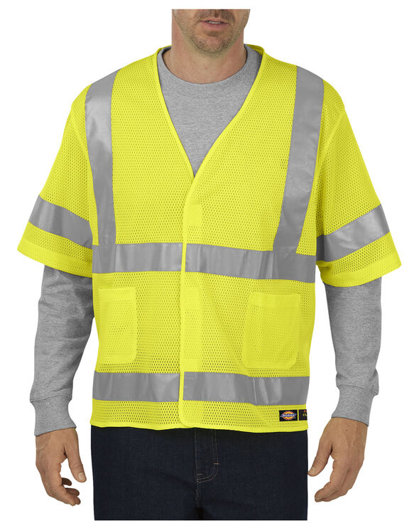 ANSI Mesh Vest with Sleeves, Class 3 - ANSI YELLOW (AY)