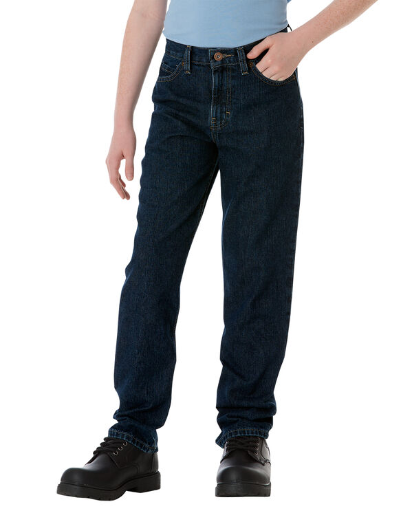 Boys' Classic Fit Straight Leg 5-Pocket Denim Jean, 8-20 - RINSED INDIGO BLUE (RNB)
