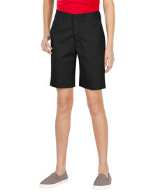 Girls' Flex Slim Fit Flat Front Short, 7-20 - BLACK (BK)