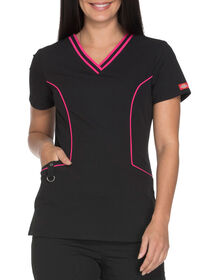 Women's Xtreme Stretch V-Neck Scrub Top - BLACK (BLK)