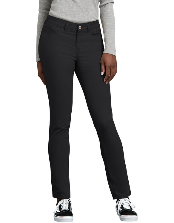 Women's Slim Fit Skinny Leg 5-Pocket Stretch Twill Pant - BLACK (BK)