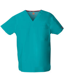 Unisex EDS V-Neck Scrub Top - DICKIES TEAL-LICENSEE (DTL)