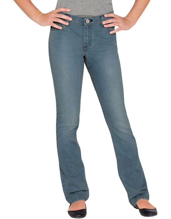 Girls' Slim Fit Strech Boot Cut Denim Jean, 4-6X - BLEACH STONEWASH (BST)