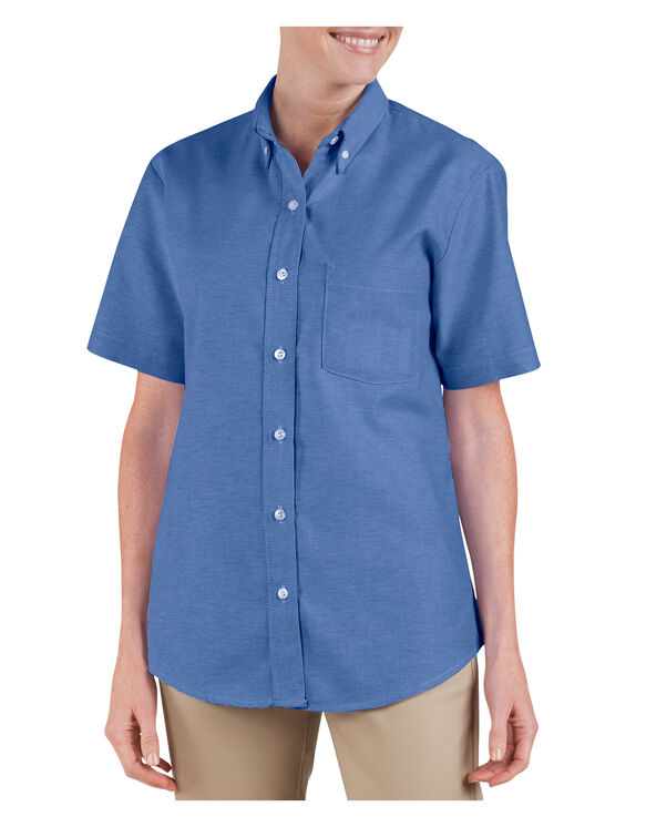 Women's Button-Down Oxford Shirt - Short Sleeve - FRENCH BLUE (FB)