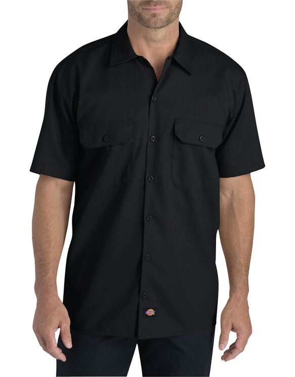 Flex Relaxed Fit Short Sleeve Twill Work Shirt - BLACK (BK)