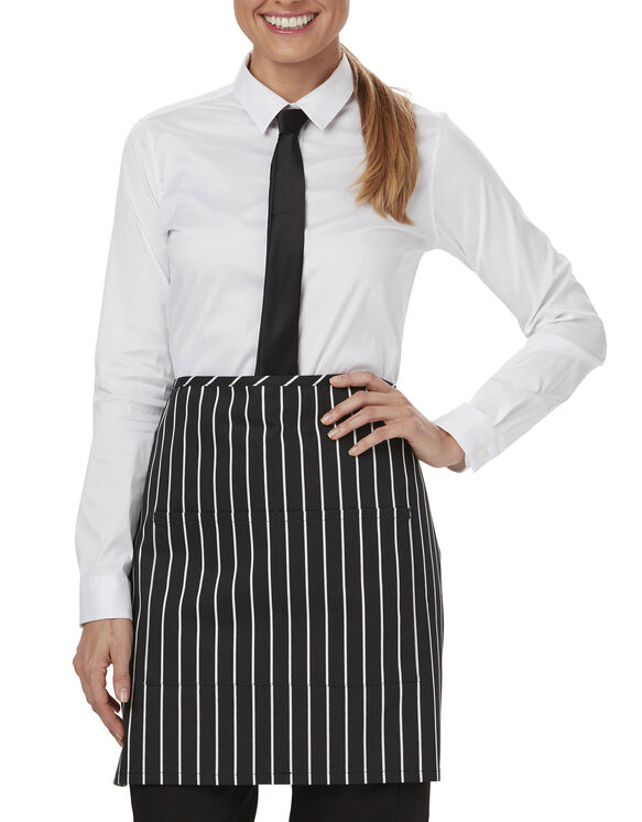 Unisex Waist Tie Half Bistro Apron with 2 Pockets - CHALK STRIPE - LICENSEE (CKSP)