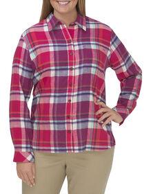 Women's Long Sleeve Plaid Flannel Shirt (Plus) - JAZZY CORAL REEF PETUNIA AQUA (JCP)
