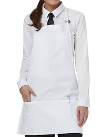 Unisex Bib Apron with Adjustable Neck and 3 Pockets - WHITE-LICENSEE (WHT)