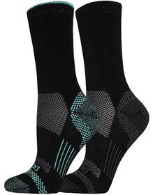 Women's SORBTEK® Moisture Control Crew Socks, Size 6-9 - BLACK / AQUA (BKAQ)