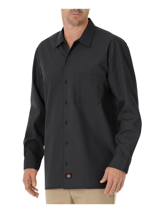 Long Sleeve Poplin Work Shirt - BLACK (BK)