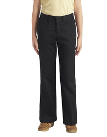 Girls' Classic Fit Boot Cut Leg Stretch Twill Pant, 7-20 - BLACK (BK)