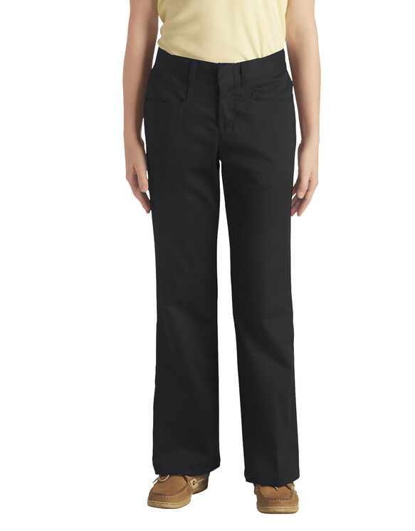 Juniors Schoolwear Classic Fit Boot Cut Leg Stretch Twill Pant - BLACK (BK)