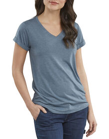 Women's Heritage Short Sleeve V-Neck Cuffed Tee - DARK DENIM HEATHER (DMH)