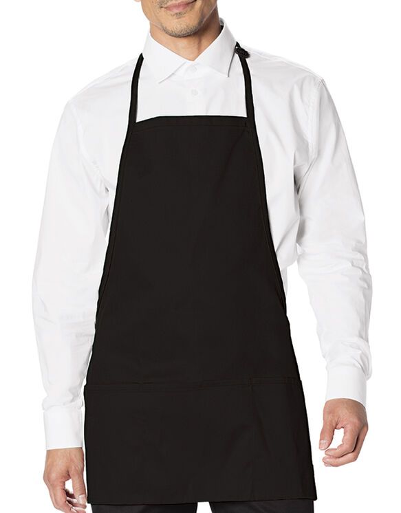 Unisex Bib Apron with Adjustable Neck and 3 Pockets - BLACK (BLK)