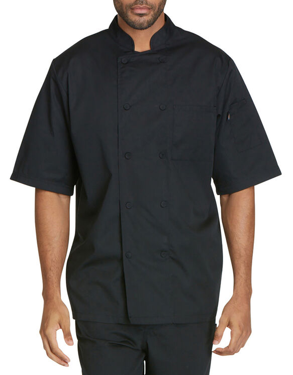 Unisex Cool Breeze Short Sleeve Chef Coat - BLACK (BLK)