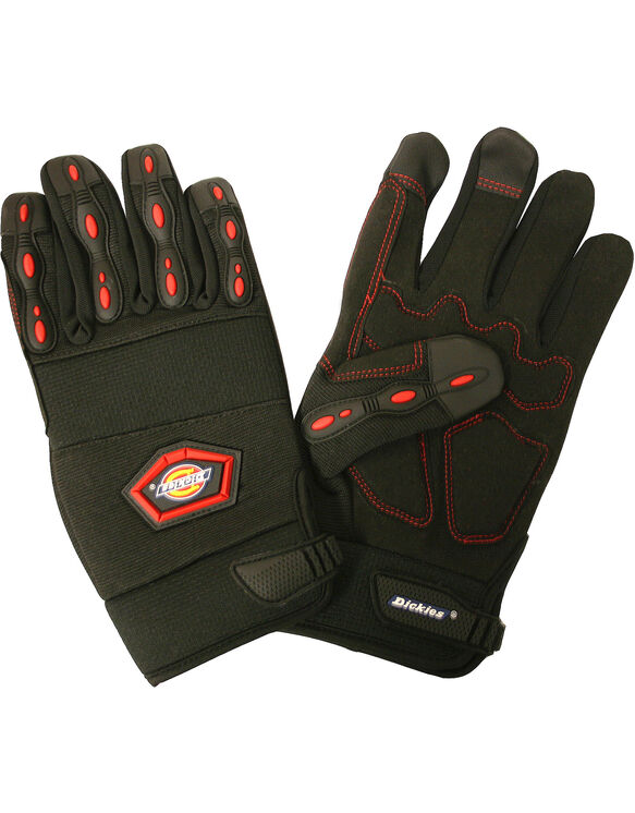Mechanics Glove, Synthetic Leather Palm, Large - BLACK (BK)