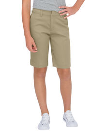 Girls' Classic Fit Bermuda Stretch Twill Short, 7-20 - DESERT SAND (DS)
