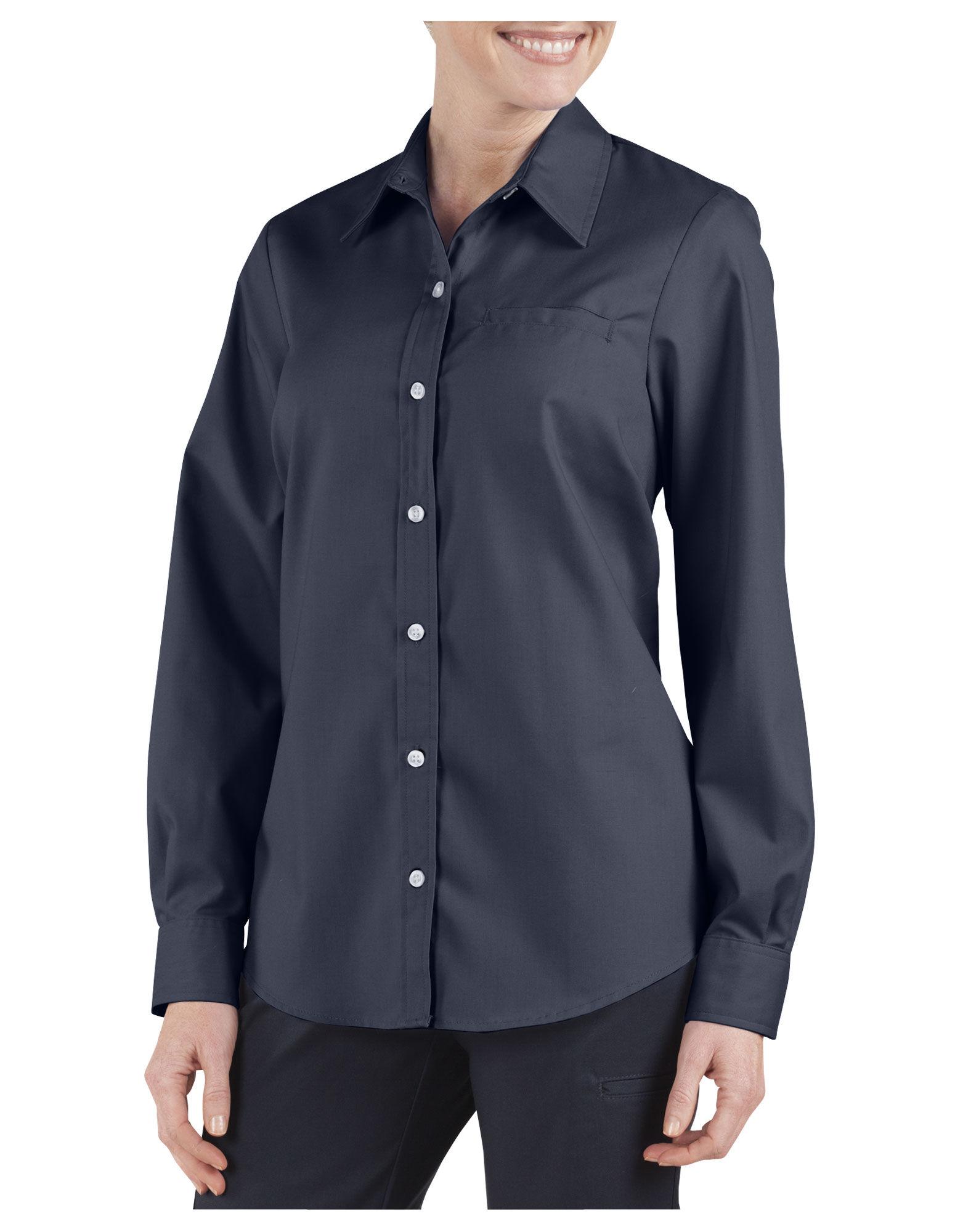 Women 39 s long sleeve stretch poplin shirt womens tops for Long sleeve poplin shirt