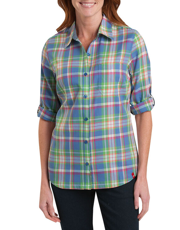 Women's Quarter Sleeve Plaid Roll-Up Shirt - CORAL FUSION/JUNGLE GREEN PLAI (OJP)