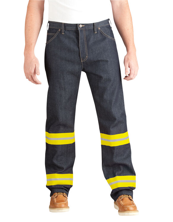 High Visibility Non-ANSI Relaxed Fit Jean - INDIGO BLUE WITH ANSI YELLOW (NBAY)