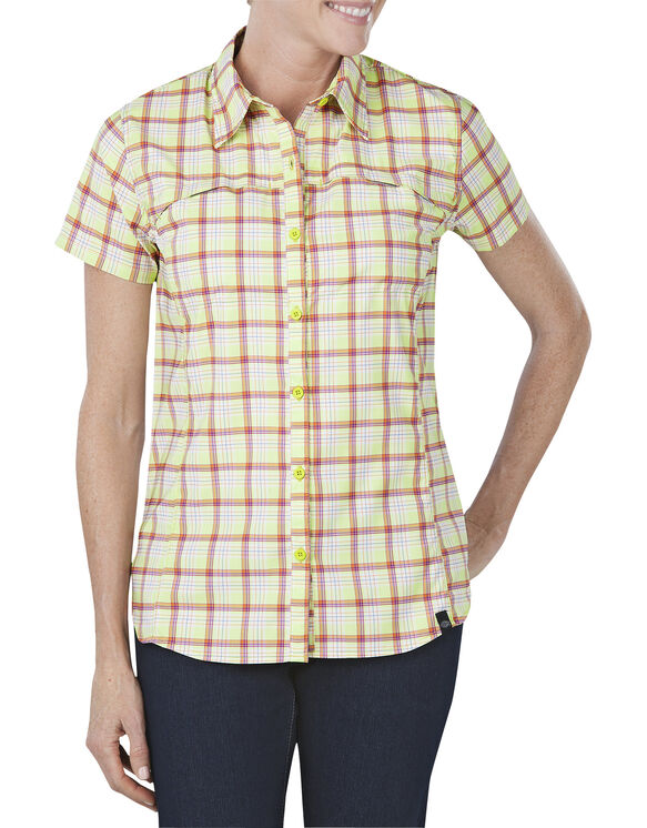 Women's Performance Vented Woven Shirt - WILD LIME/MANDARIN PLAID (IDP)