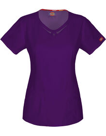 Women's EDS Signature Round Neck Scrub Top - EGGPLANT-LICENSEE (EGG)