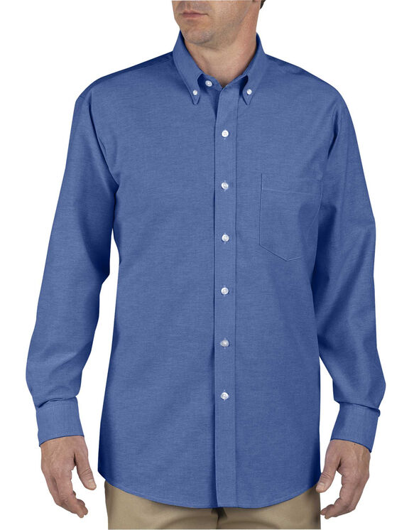 Men 39 s button down oxford shirt long sleeve dickies for French blue oxford shirt
