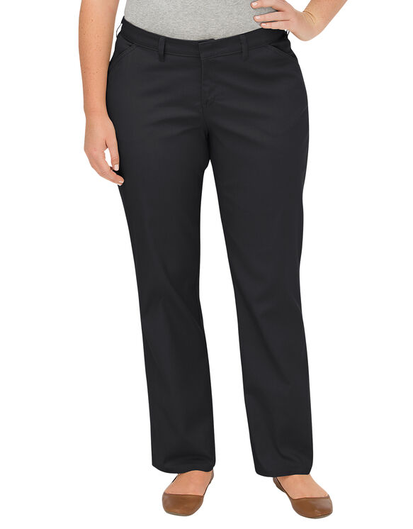 Women's Premium Curvy Fit Straight Leg Flat Front Pant (Plus) - BLACK (BK)