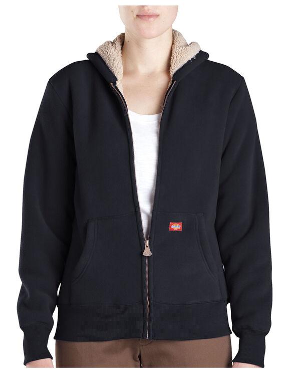Women's Sherpa Fleece Hoodie - BLACK (BK)