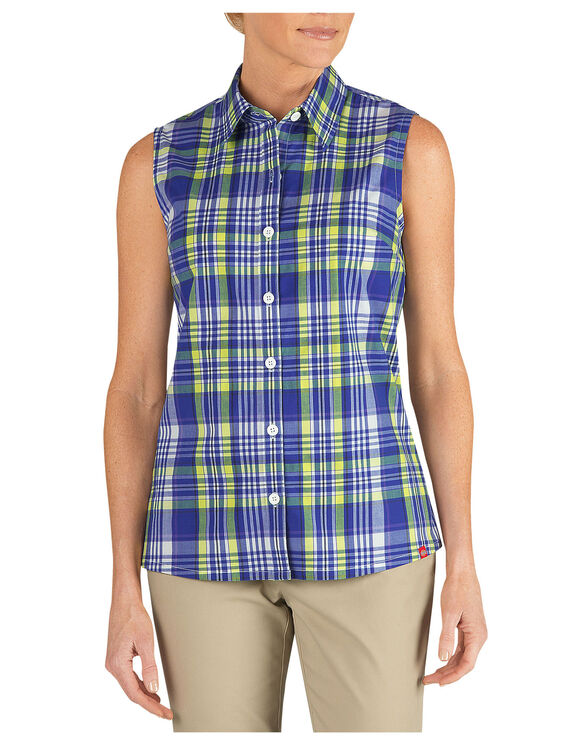Women's Plaid Sleeveless Stretch Poplin Shirt - ROYAL BLUE/WILD LIME PLAID (OWP)