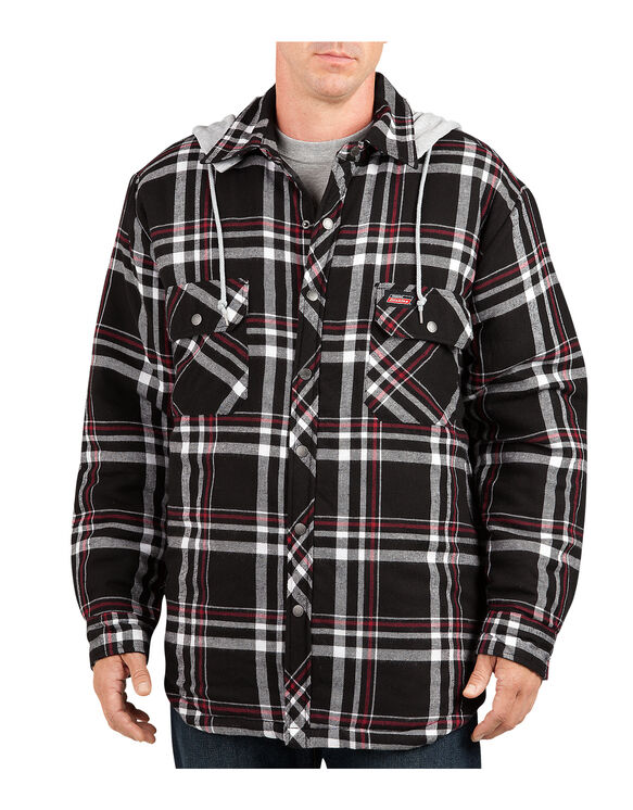 Quilted Shirt with Detachable Hood - CANADA PLAID BLACK/AGED BRICK (CA5)