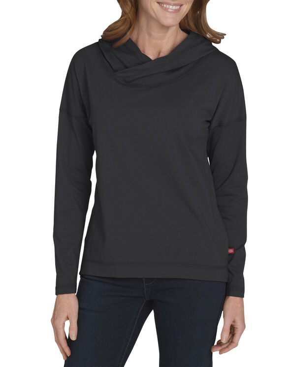 Womens' Long Sleeve Knit Hoodie - BLACK/WHITE (BKWH)