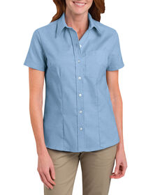 Women's Short Sleeve Stretch Oxford Shirt - LIGHT BLUE (LB)