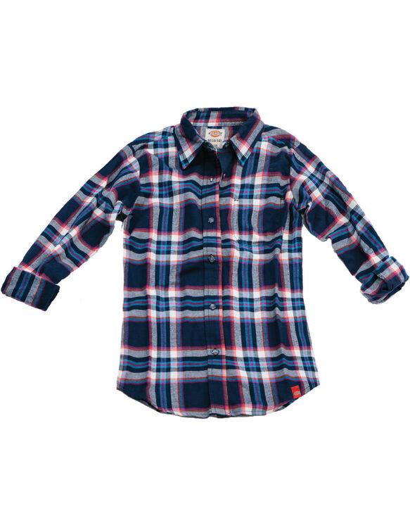 Girls Long Sleeve Flannel Shirt - BLACK IRIS/TEXAS TOPEZ PLAID (IZP)