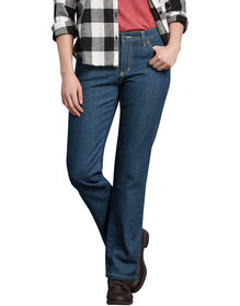 Women's Relaxed Fit Straight Leg Flannel Lined Denim Jean - STONEWASHED VINTAGE BLUE (SVB)