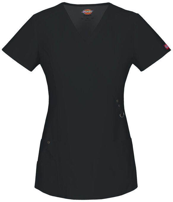 Women's XTreme Stretch Mock Wrap Scrub Top - BLACK (BLK)