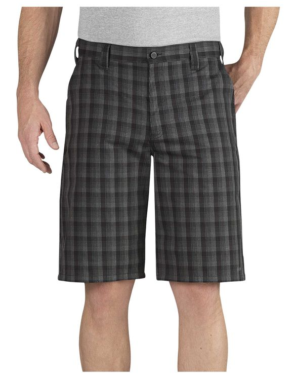 "Performance 11"" Relaxed Fit Flat Front Plaid Short - BLACK WHITE PLAID (AWP)"
