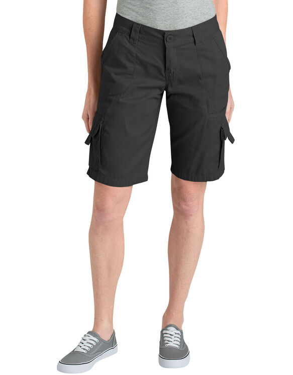 "Women's 11"" Relaxed Fit Cotton Cargo Short - RINSED BLACK (RBK)"