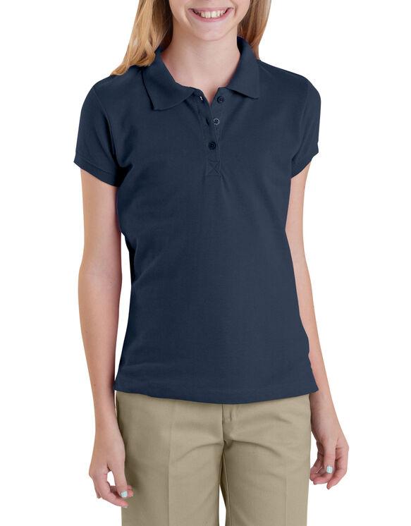 Girls' Short Sleeve Pique Polo Shirt,  7-20 - DARK NAVY (DN)