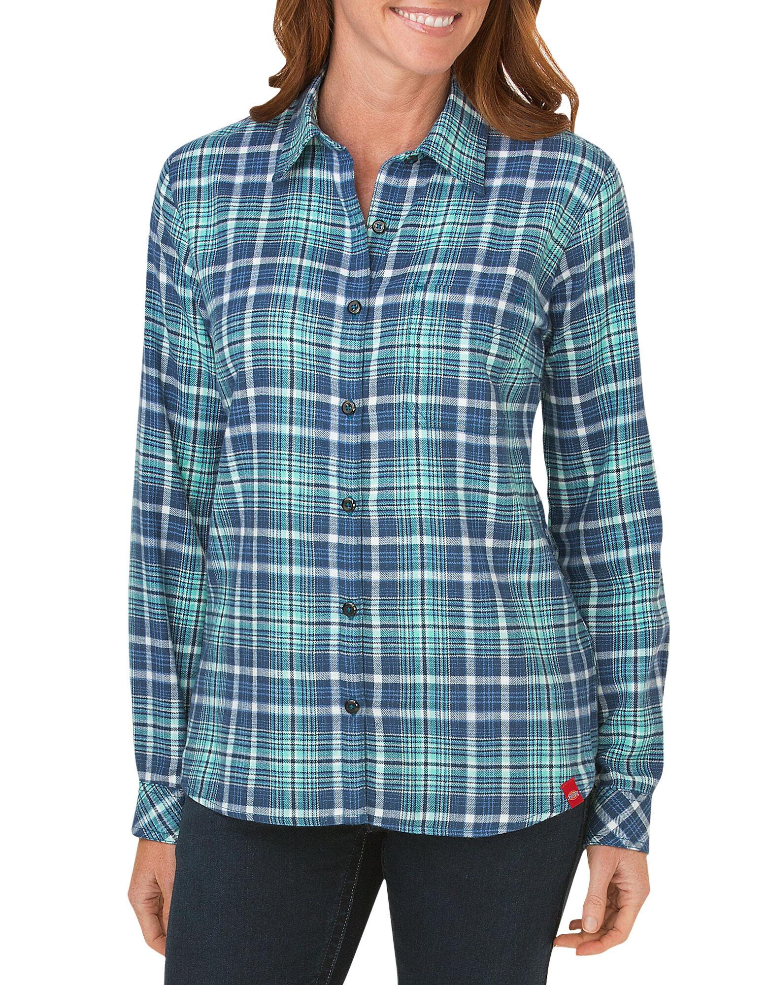 Women 39 s long sleeve plaid shirt dickies for Long plaid flannel shirt