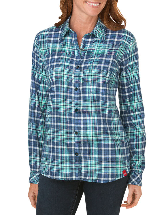 Women's Long Sleeve Plaid Flannel Shirt - DARK DENIM FRENCH BLUE AQUA GL (DFP)