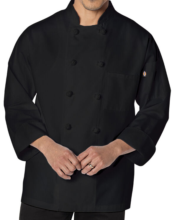 Unisex Classic Knot Button Long Sleeve Chef Coat - BLACK-LICENSEE (BLK)