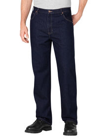 Loose Fit Straight Leg 5-Pocket Denim Jean - RINSED INDIGO BLUE (RNB)
