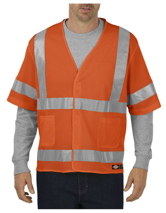 ANSI Mesh Vest with Sleeves, Class 3 - ANSI ORANGE (AO)